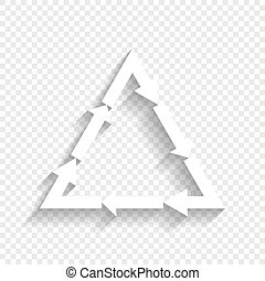 Plastic recycling symbol PVC 3 , Plastic recycling code PVC 3. Vector. White icon with soft shadow on transparent background.