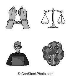 Handcuffs, scales of justice, hacker, crime scene.Crime set collection icons in monochromet style raster, bitmap symbol stock illustration web.