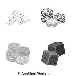 Domino bones, stack of chips, a pile of mont, playing blocks. Casino and gambling set collection icons in monochrome style raster, bitmap symbol stock illustration web.