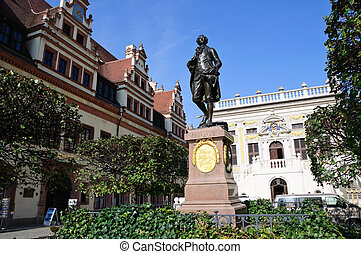 Leipzig, Germany - Statue of Johann Wolfgang Goehte in...