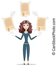 Businesswoman holding a diploma or patent. - Abstract...