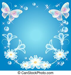Fantasy background with butterflies and flowers