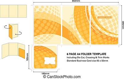 Six page A4 Folder template with Die Cut and standard...