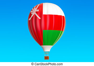 Hot air balloon with Oman flag, 3D rendering