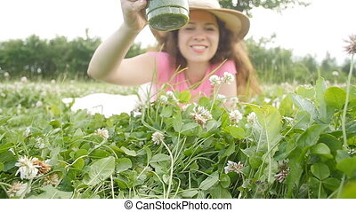 Young woman drink holding healthy detox outdoors - Young...