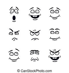 Vector cartoon faces with expressions. Emotion set. Scared, happy, smiling, skeptical, ungry, pensive, embarrassed, upset, insidious