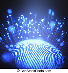 Fingerprint Binary Code - 3D illustration. Fingerprint...