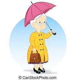 an elderly woman under an umbrella - an elderly woman in a...