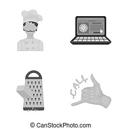 Cook, order by phone, grated cheese, ordering a face gesture.Pizza and pizzeria set collection icons in cartoon style raster, bitmap symbol stock illustration web.