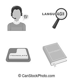 A translator in headphones, a magnifying glass showing translation, a button with an inscription, a book with a bookmark. Interpreter and translator set collection icons in monochrome style raster, bitmap symbol stock illustration web.