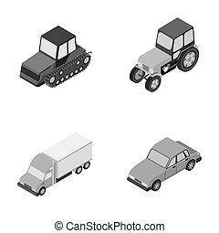 Tractor, caterpillar tractor, truck, car. Transport set...