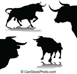 two buls - bulls vector silhouette illustration
