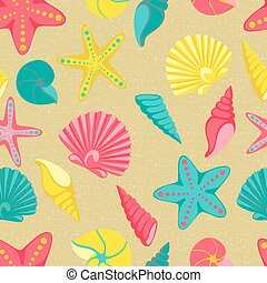Seashell seamless pattern. design for holiday greeting card and invitation of seasonal summer holidays, summer beach parties, tourism and travel