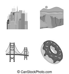 A megacity, a grand canyon, a golden gate bridge,donut with chocolate. The US country set collection icons in monochrome style raster,bitmap symbol stock illustration web.