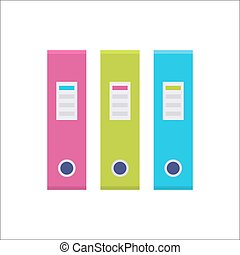 Ring binder in a row set icon - Ring binder in a row, file...