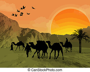 Bedouins with camels background