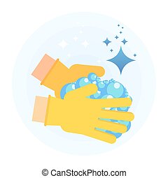 clean hand with lather - Hand in rubber glove holding...