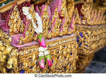 Flower garlands for buddhism religious ceremony - Thai...
