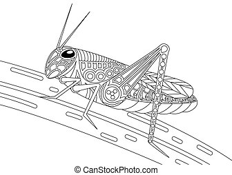 Monochrome grasshopper coloring page black over white. -...