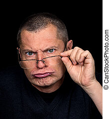 male Portrait with grotesque emotions - Portrait of a Man...