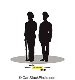 Dark silhouette of two soldiers with a rifle on a white background. Soldiers stand on the post. Flat vector illustration EPS 10