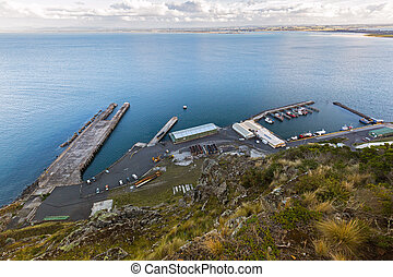 High angle view of Fisherman's Wharf at Stanley Harbor and...