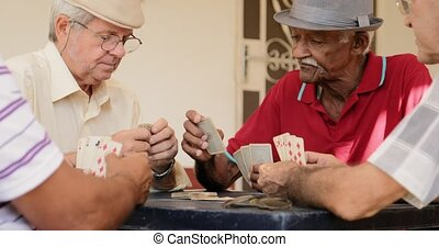Happy Elderly Men Smiling Laughing Playing Cards At Home -...
