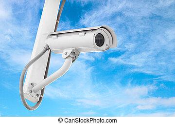 cctv camera with blue sky