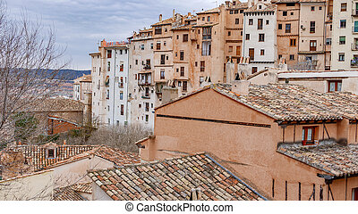 Cuenca old town perspective of house facades - Vintage view...