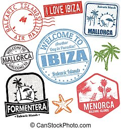 Travel stamps set with Balearic Islands