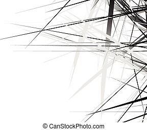 Edgy texture with chaotic, random lines. Abstract geometric...