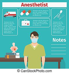 Anesthetist and medical equipment icons with infographics...