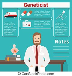 Geneticist and medical equipment icons with infographics...