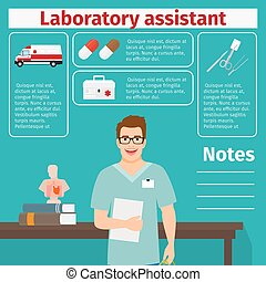 Laboratory assistant and medical equipment icons with...