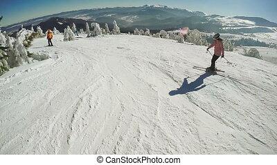 Training in skiing - Dynamic Steadicam accompanies the...