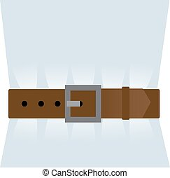 Brown leather belt tightened - A Brown leather belt is...