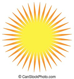 Simple flat sun clip-art, sun icon with edgy corona