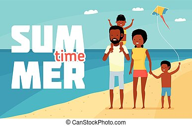 Family leisure. Summer time. Happy african family beach holiday. Family having fun at the beach