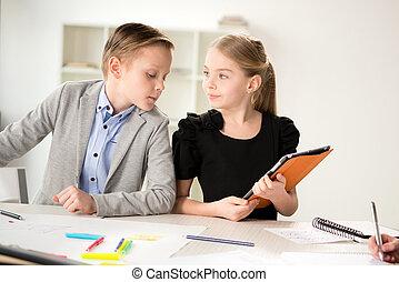 trabalhando, crianças, escritório