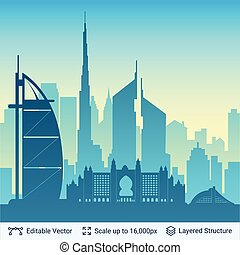 Dubai famous city scape. - Flat well known silhouettes....
