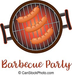 Barbecue pan with sausages,