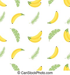 Seamless pattern with tropical palm leaves and bananas. Vector illustration. Easy to use for backdrop, textile, wrapping paper, wall posters.