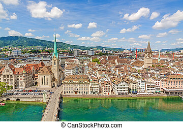 Minster Fraumunster and St. Peter church with city center of...