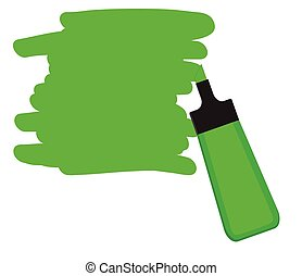 Green highlighter pen with green area for writing a message....