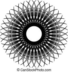 Circular, radiating abstract shape, motif. Geometric design...