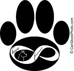 Forever love icon with dogand paw isolated on white background. Vector illustration