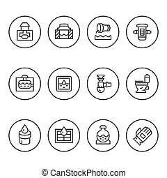Set round line icons of sewerage isolated on white. Vector...