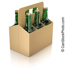 Six green bottles of beer in carton packaging on white...