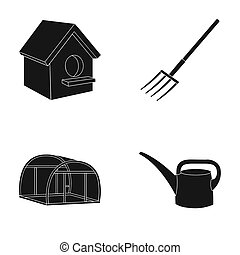 Poultry house, pitchfork, greenhouse, watering can.Farm set...