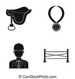 Saddle, medal, champion, winner .Hippodrome and horse set collection icons in black style raster,bitmap symbol stock illustration web.